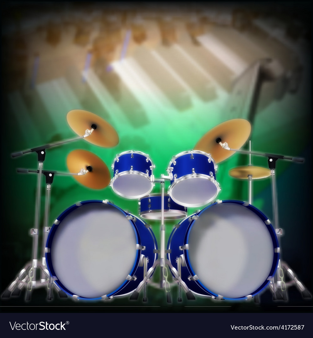 Abstract music background with blue drum kit vector | Price: 3 Credit (USD $3)