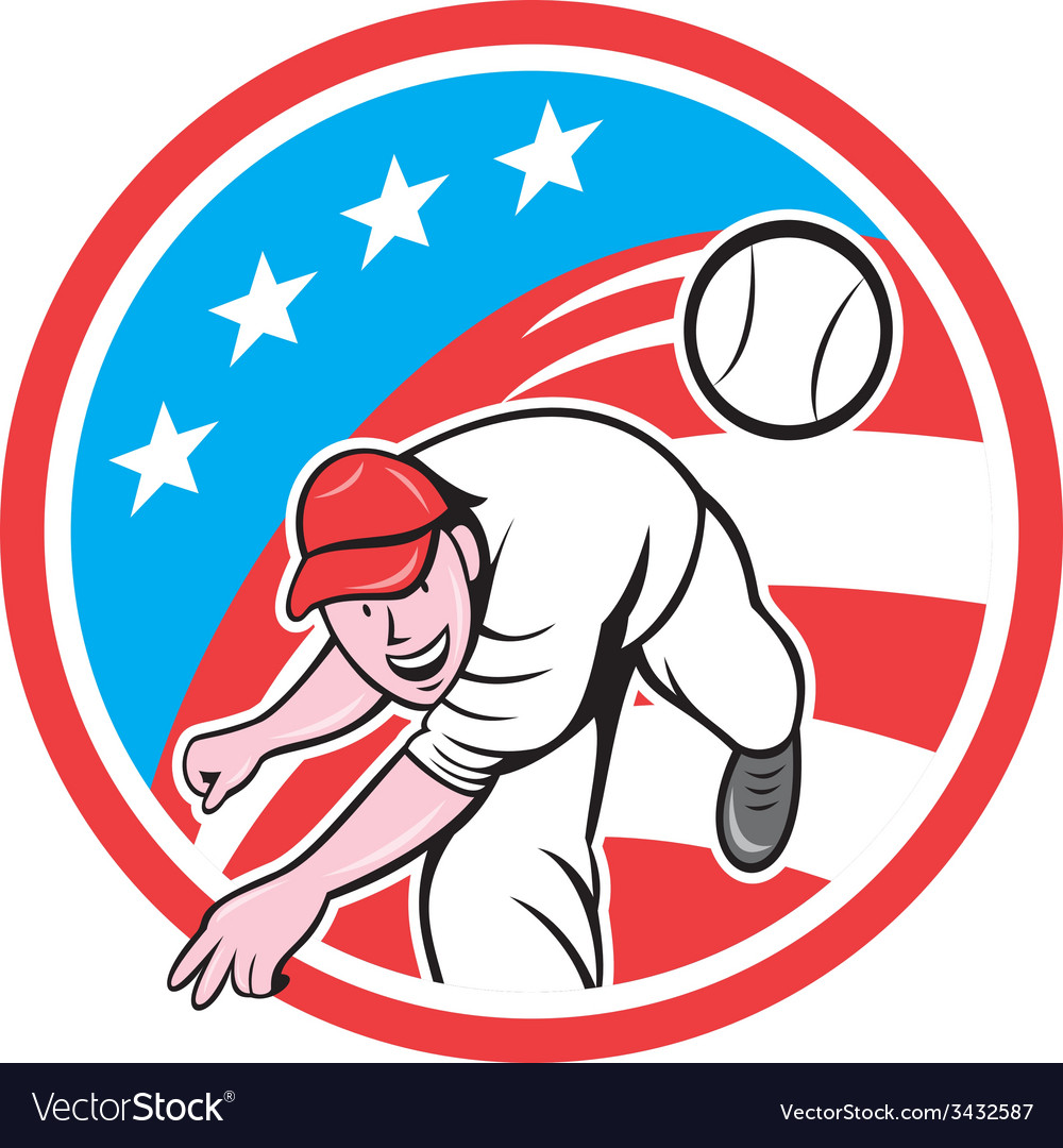 Baseball pitcher outfielder throwing ball circle vector | Price: 1 Credit (USD $1)