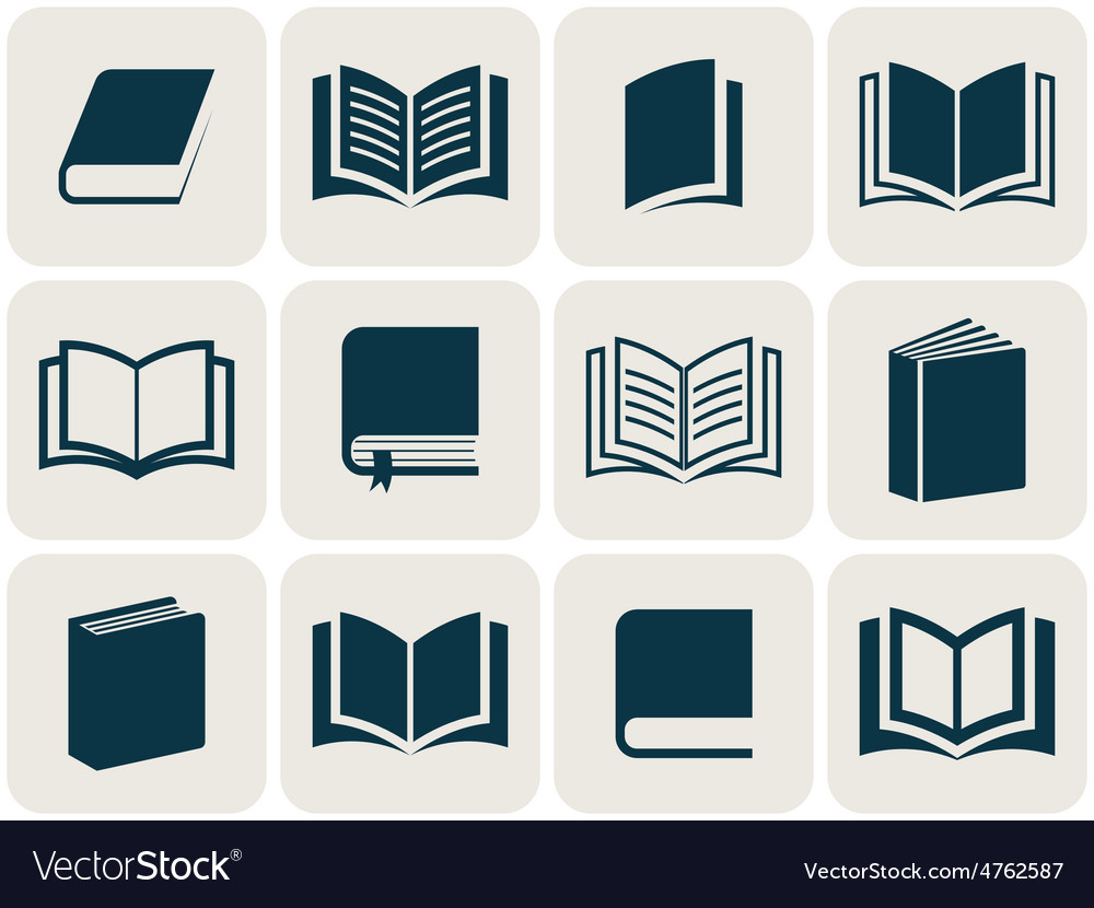 Book icons collection vector | Price: 1 Credit (USD $1)
