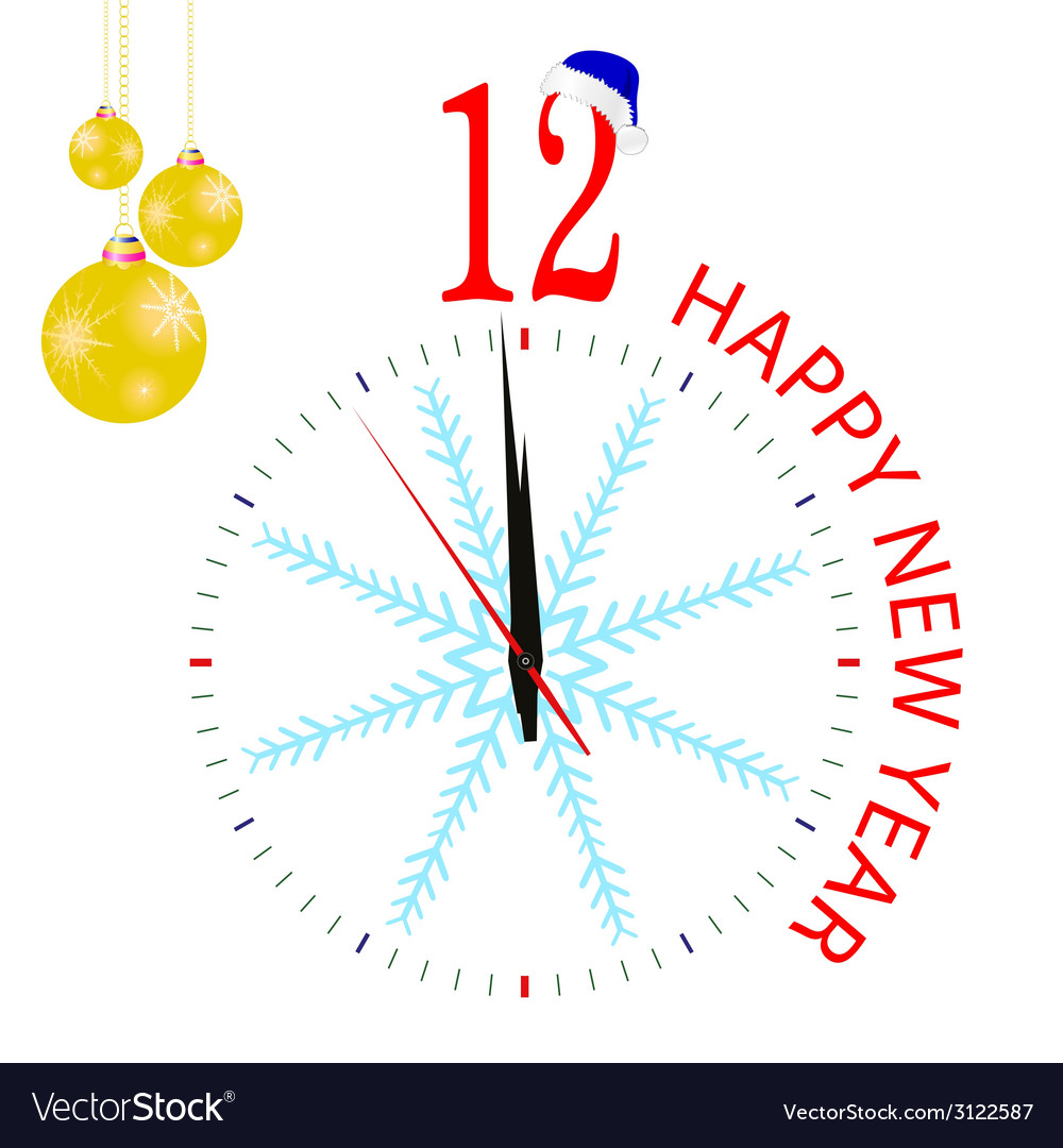 Clock with blue snowflake for new year vector | Price: 1 Credit (USD $1)