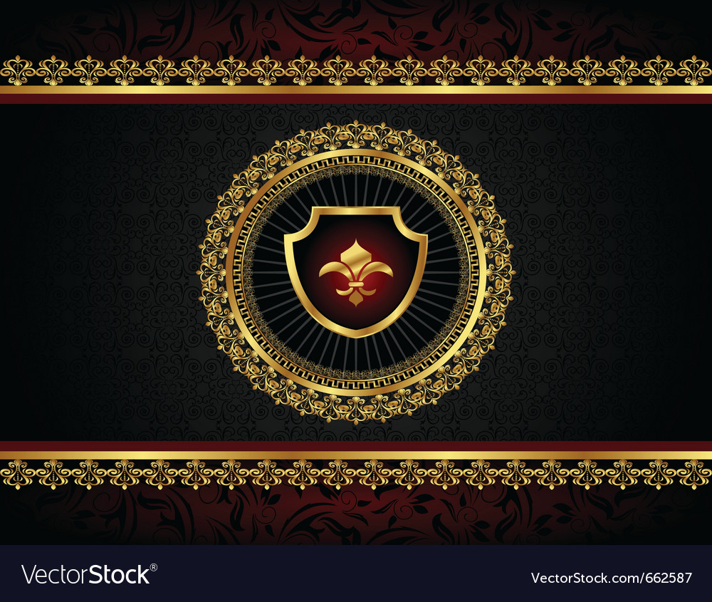 Golden vintage frame with shield - vector | Price: 1 Credit (USD $1)