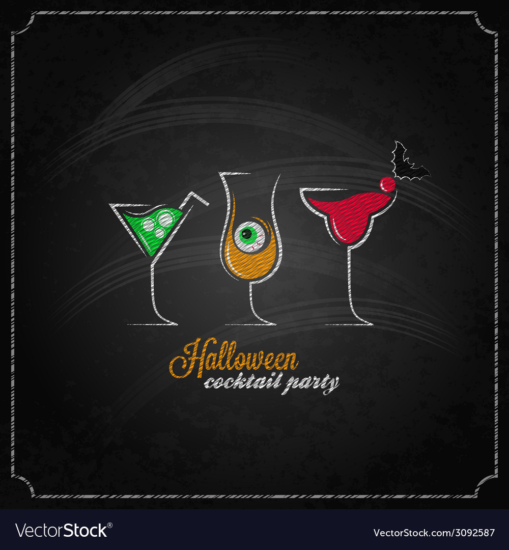 Halloween party cocktails menu design background vector | Price: 1 Credit (USD $1)