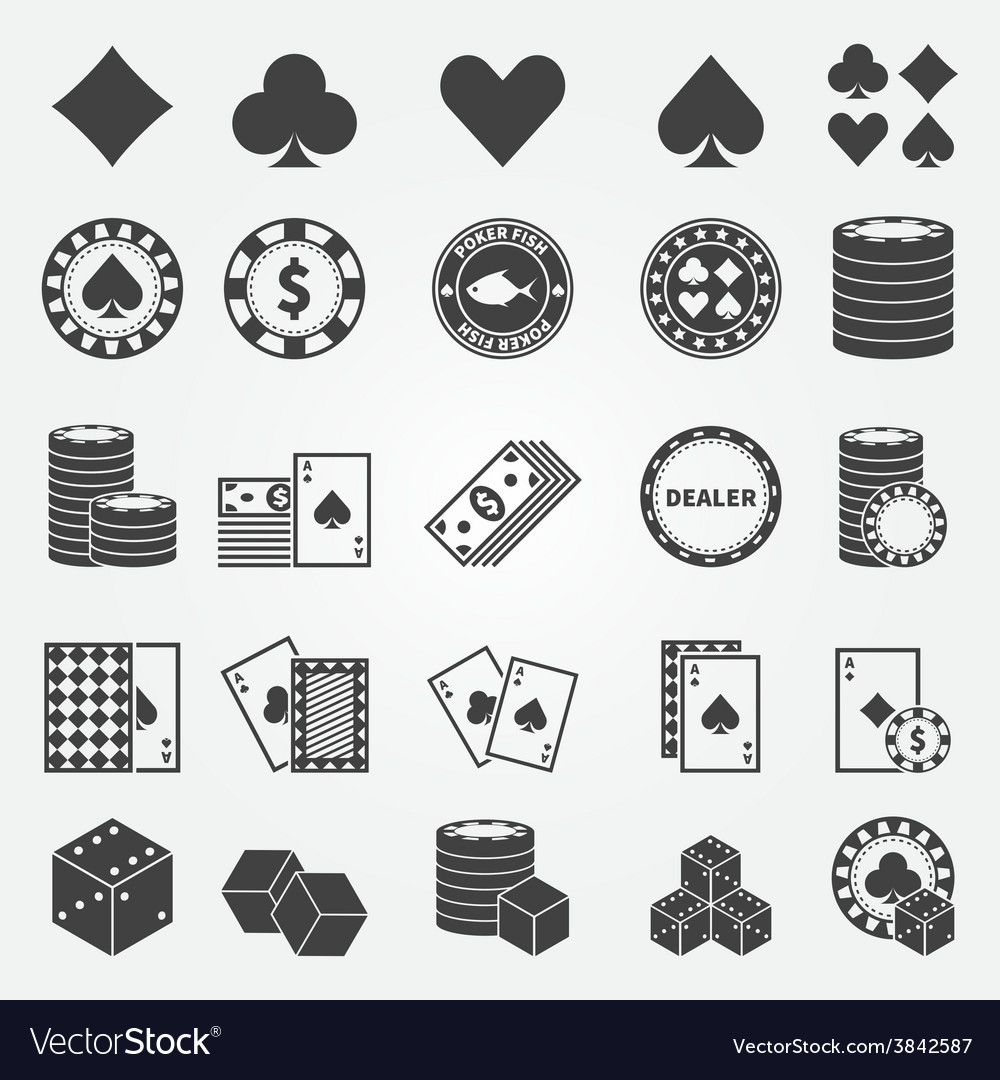 Poker icons set vector | Price: 1 Credit (USD $1)