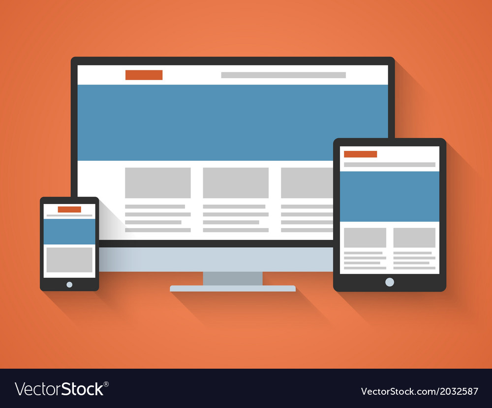 Responsive web design in flat style vector | Price: 1 Credit (USD $1)
