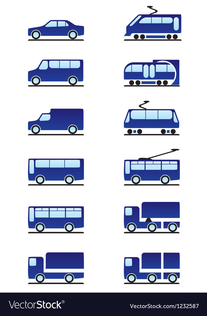 Road and railways transportations icons set vector | Price: 1 Credit (USD $1)