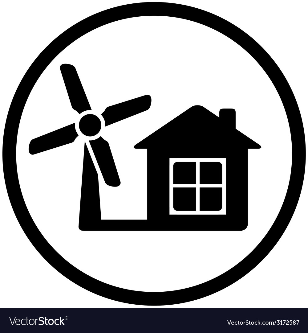 Round wind mill icon for home alternative power vector | Price: 1 Credit (USD $1)