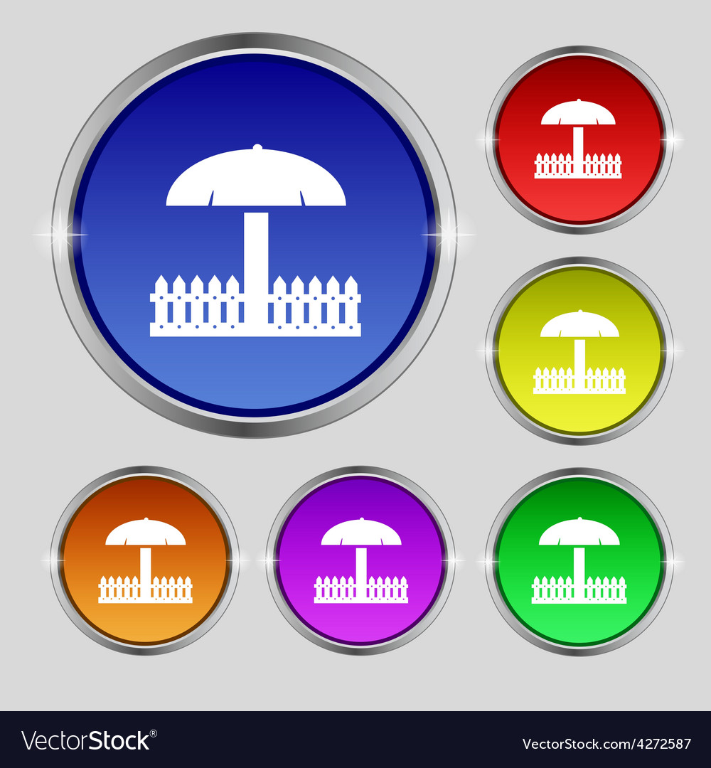 Sandbox icon sign round symbol on bright colourful vector | Price: 1 Credit (USD $1)