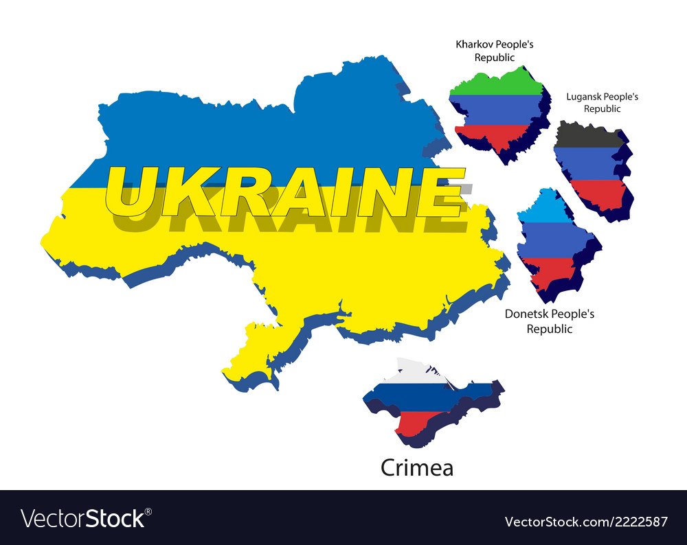 Separate regions of ukraine spring events in 2014 vector | Price: 1 Credit (USD $1)