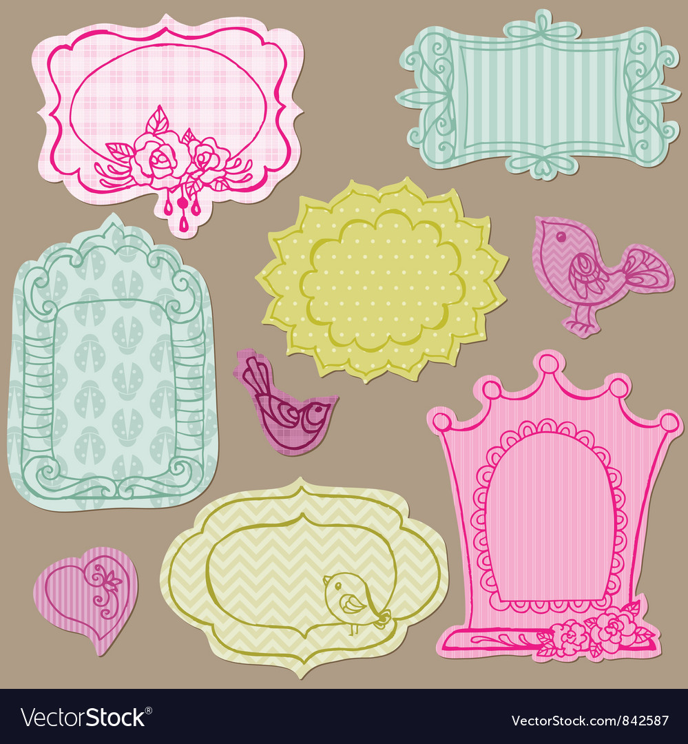 Set of cute doodle frames vector   Price: 1 Credit (USD $1)