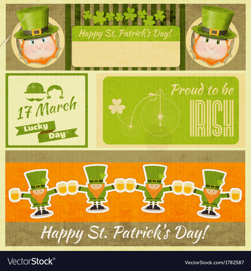 Set of patricks day retro cards vector | Price: 1 Credit (USD $1)