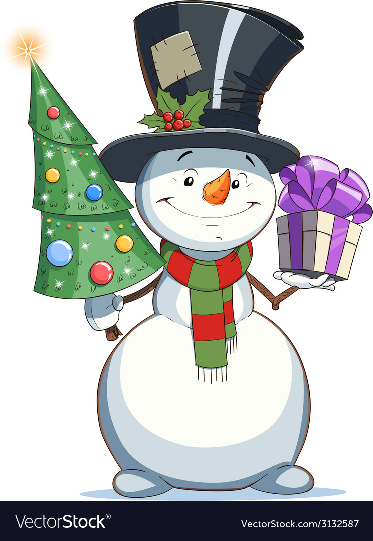 Snowman with gift vector | Price: 1 Credit (USD $1)