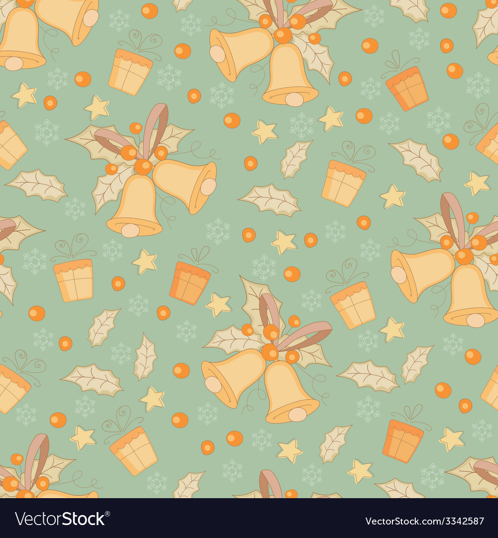 Vintage gold christmas seamless pattern vector   Price: 1 Credit (USD $1)