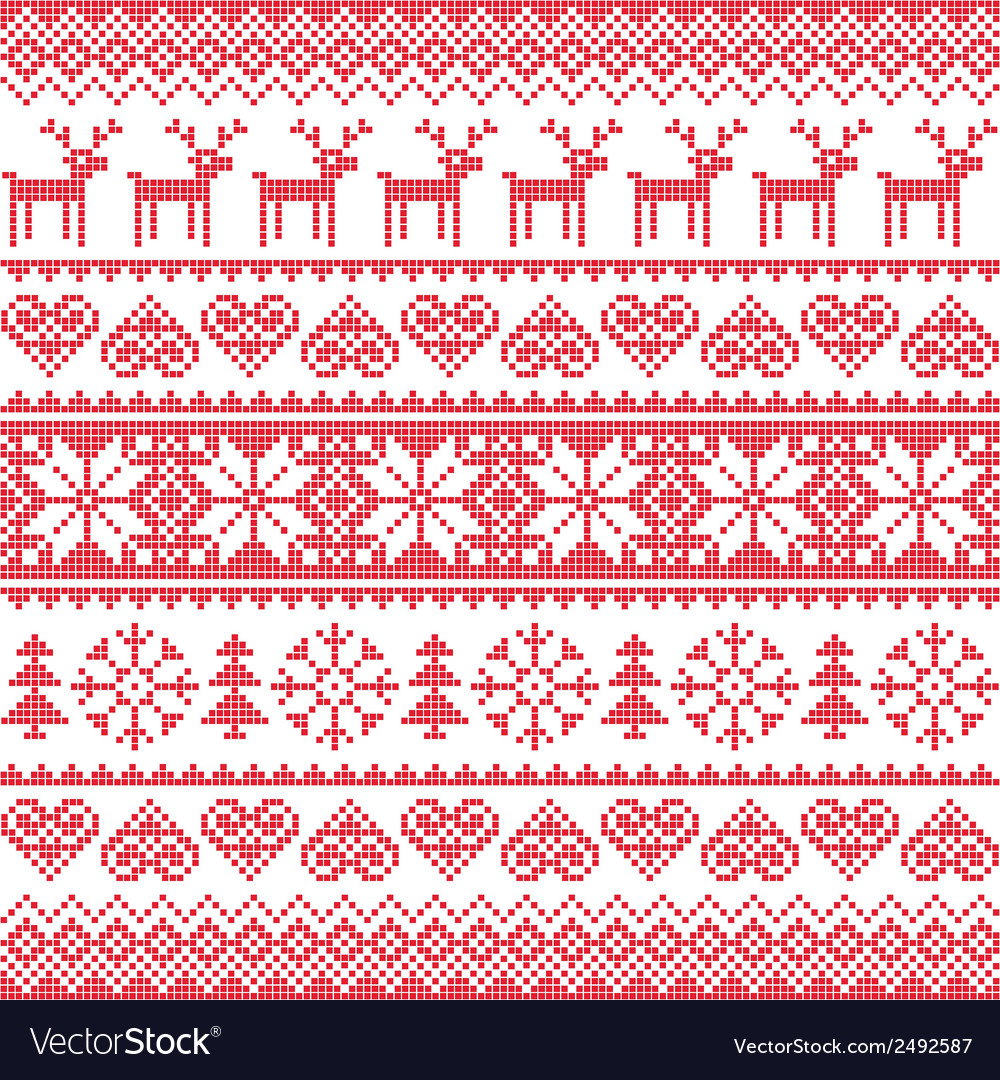 Winter christmas red seamless pixelated pattern vector | Price: 1 Credit (USD $1)
