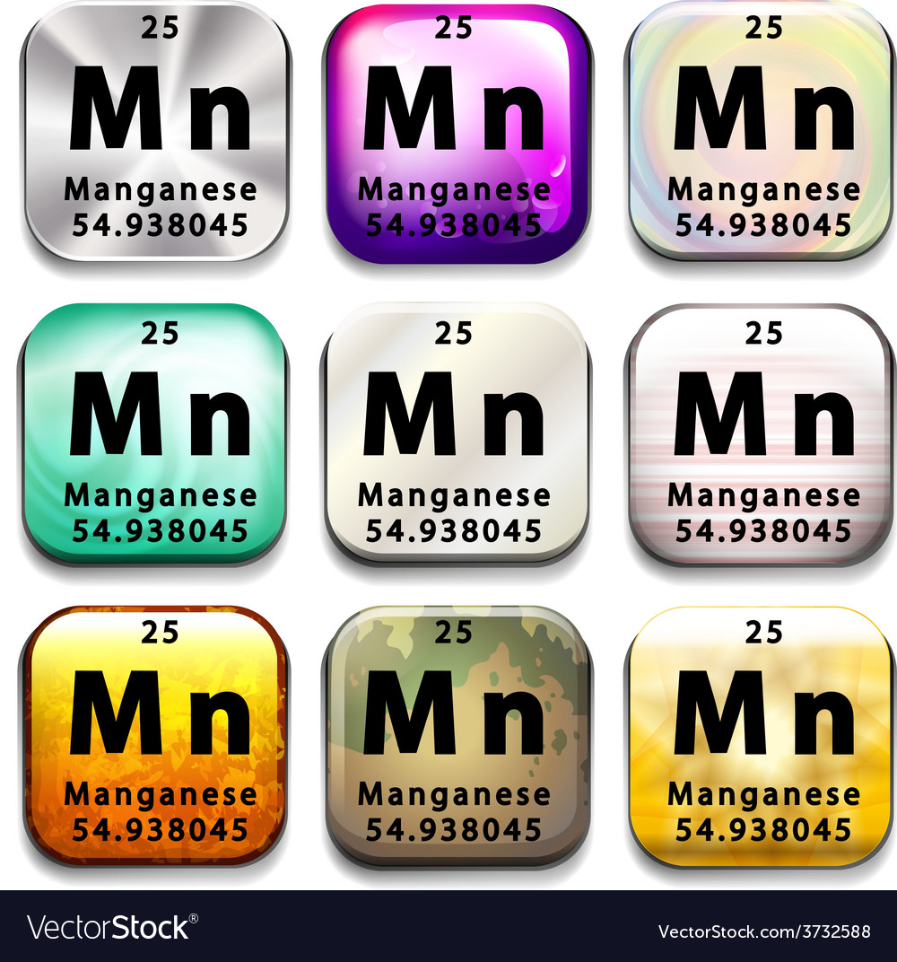 A button showing the element manganese vector | Price: 1 Credit (USD $1)