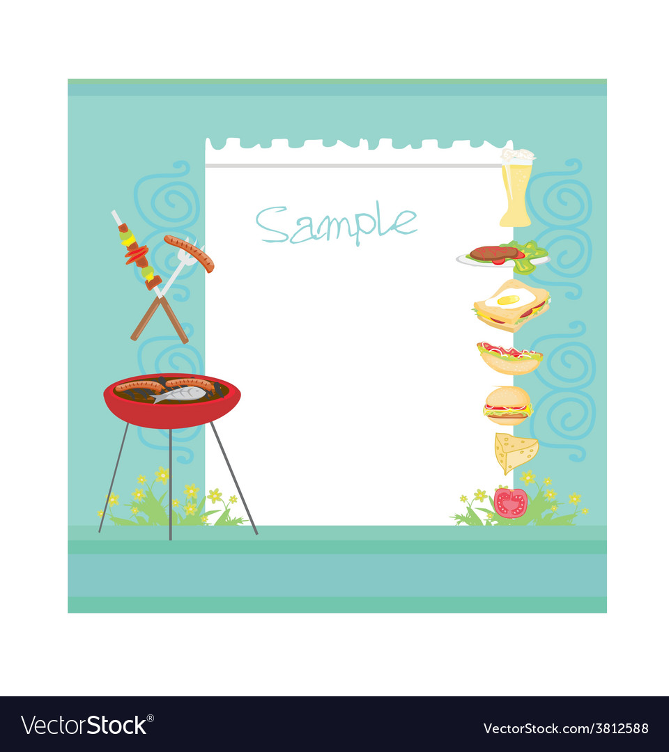 Barbecue party invitation with copy space vector | Price: 1 Credit (USD $1)