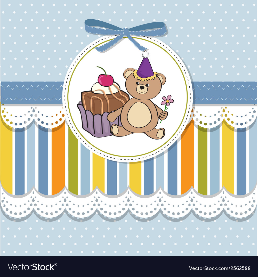 Birthday greeting card with cake and teddy bear vector | Price: 1 Credit (USD $1)