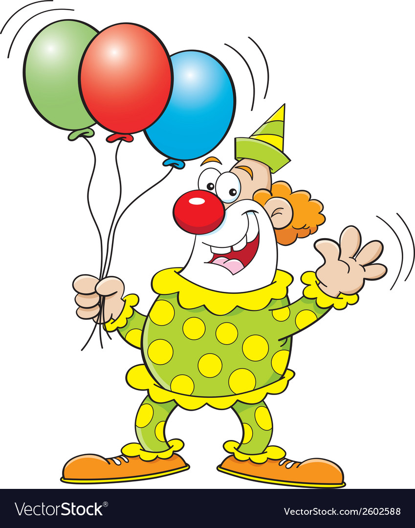 Cartoon clown with balloons vector | Price: 1 Credit (USD $1)