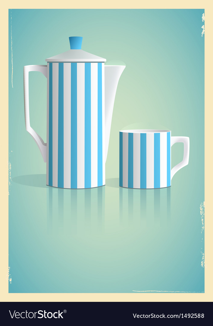 Coffee pot and cup in retro style vector | Price: 1 Credit (USD $1)