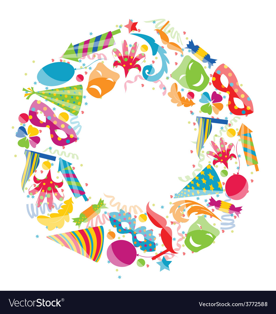 Festive round frame with carnival colorful objects vector | Price: 1 Credit (USD $1)