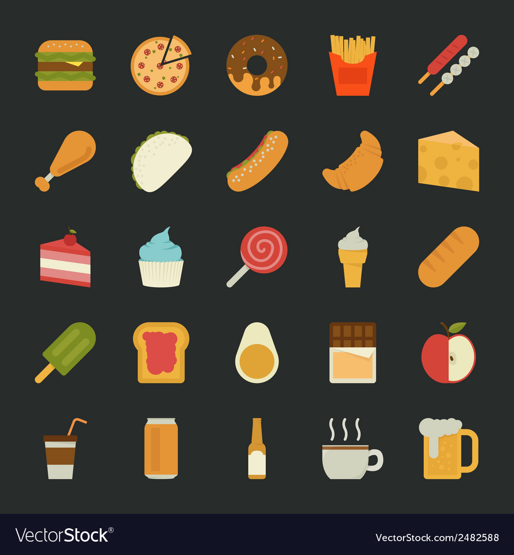 Food icons flat design vector | Price: 1 Credit (USD $1)