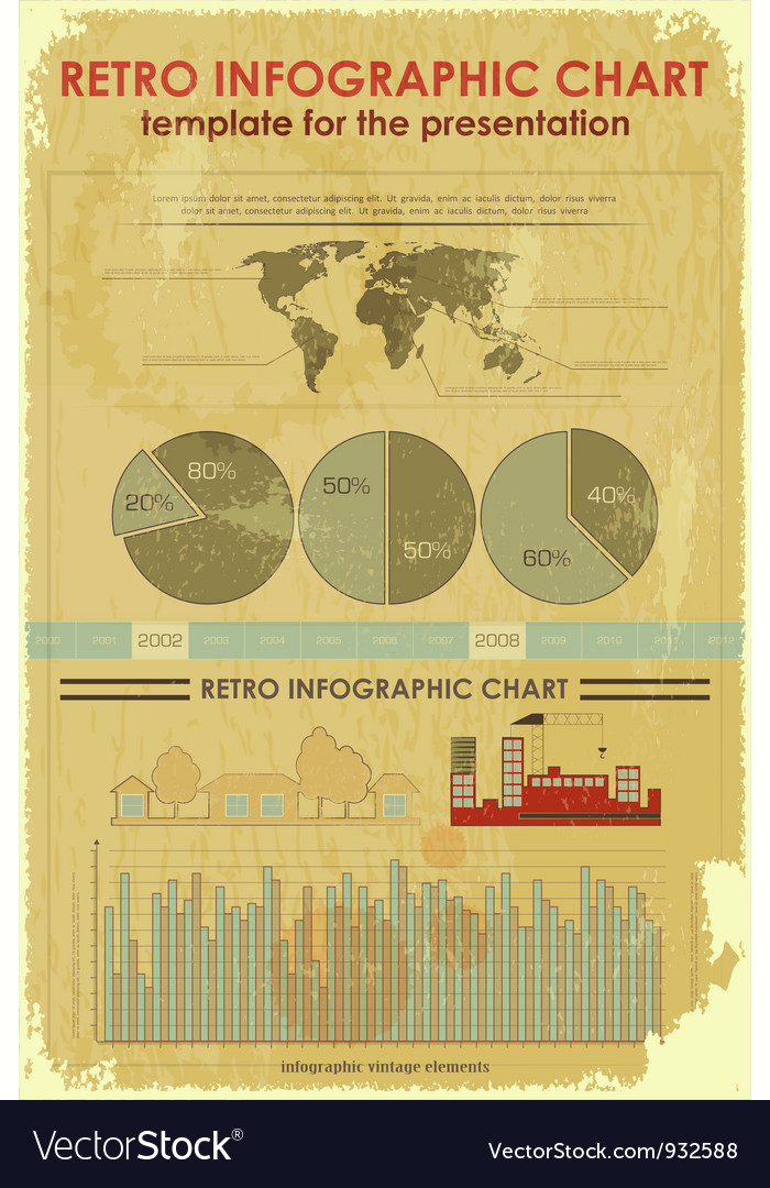 Grunge infographic elements with world map vector | Price: 3 Credit (USD $3)