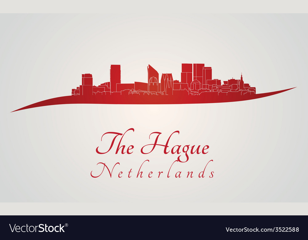 The hague skyline in red vector | Price: 1 Credit (USD $1)
