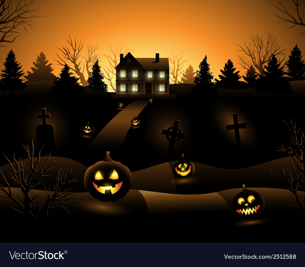 Halloween haunted house background vector | Price: 3 Credit (USD $3)