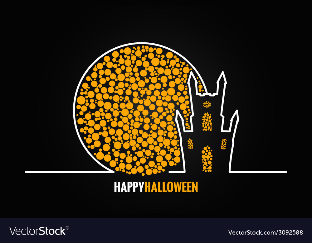 Halloween house full moon design background vector | Price: 1 Credit (USD $1)