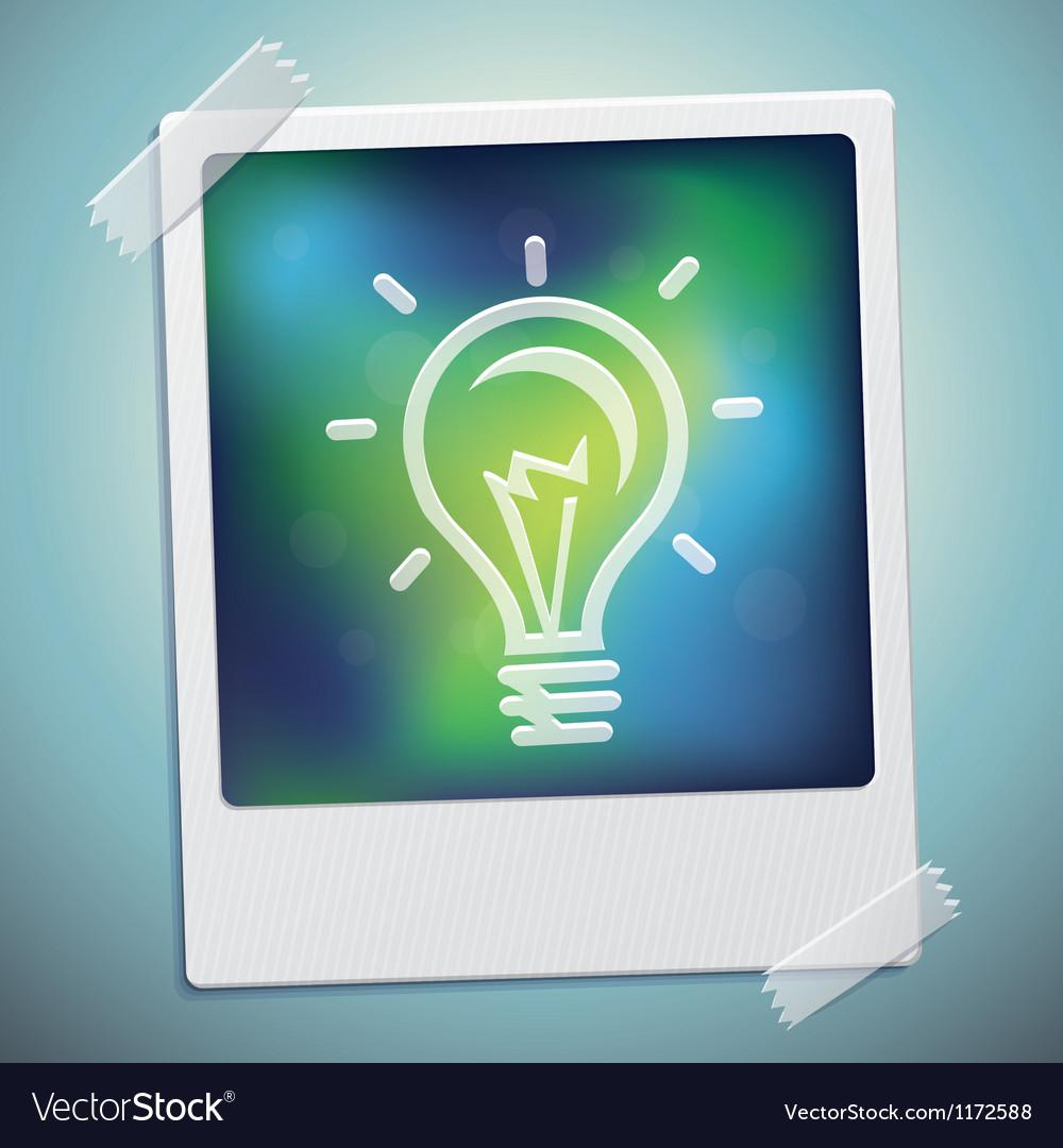 Light bulb icon on polaroid frame - start u vector | Price: 1 Credit (USD $1)