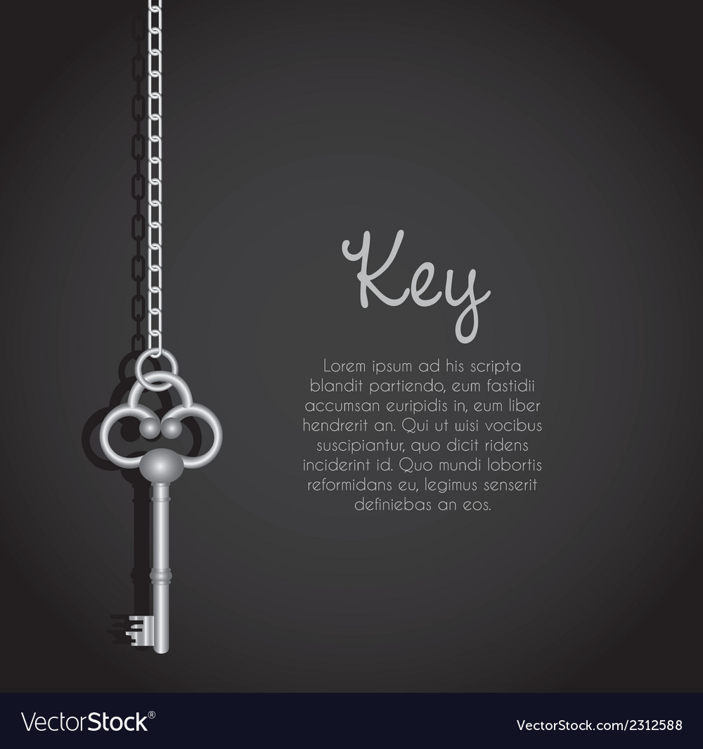 Old keys with link chain black background with tex vector | Price: 1 Credit (USD $1)
