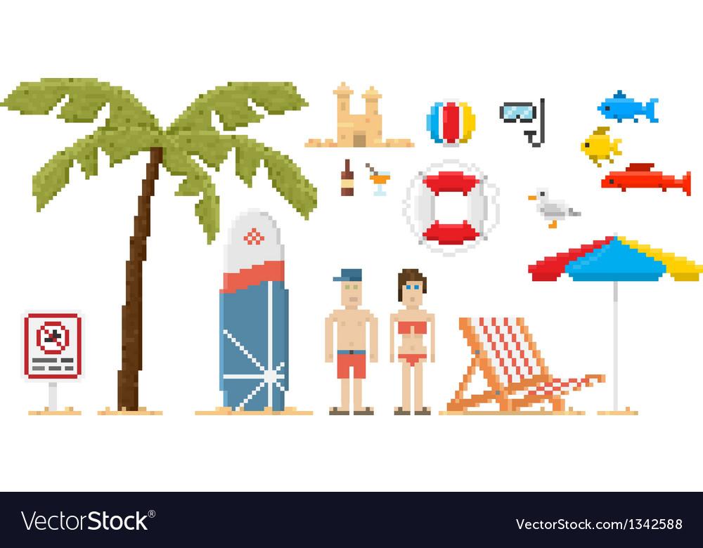 Pixel art style beach set vector | Price: 1 Credit (USD $1)