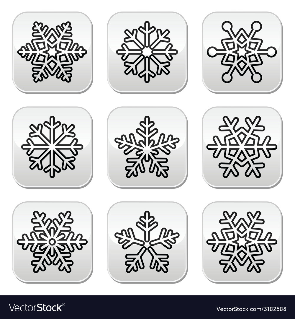 Snowflakes winter black and white buttons set vector | Price: 1 Credit (USD $1)