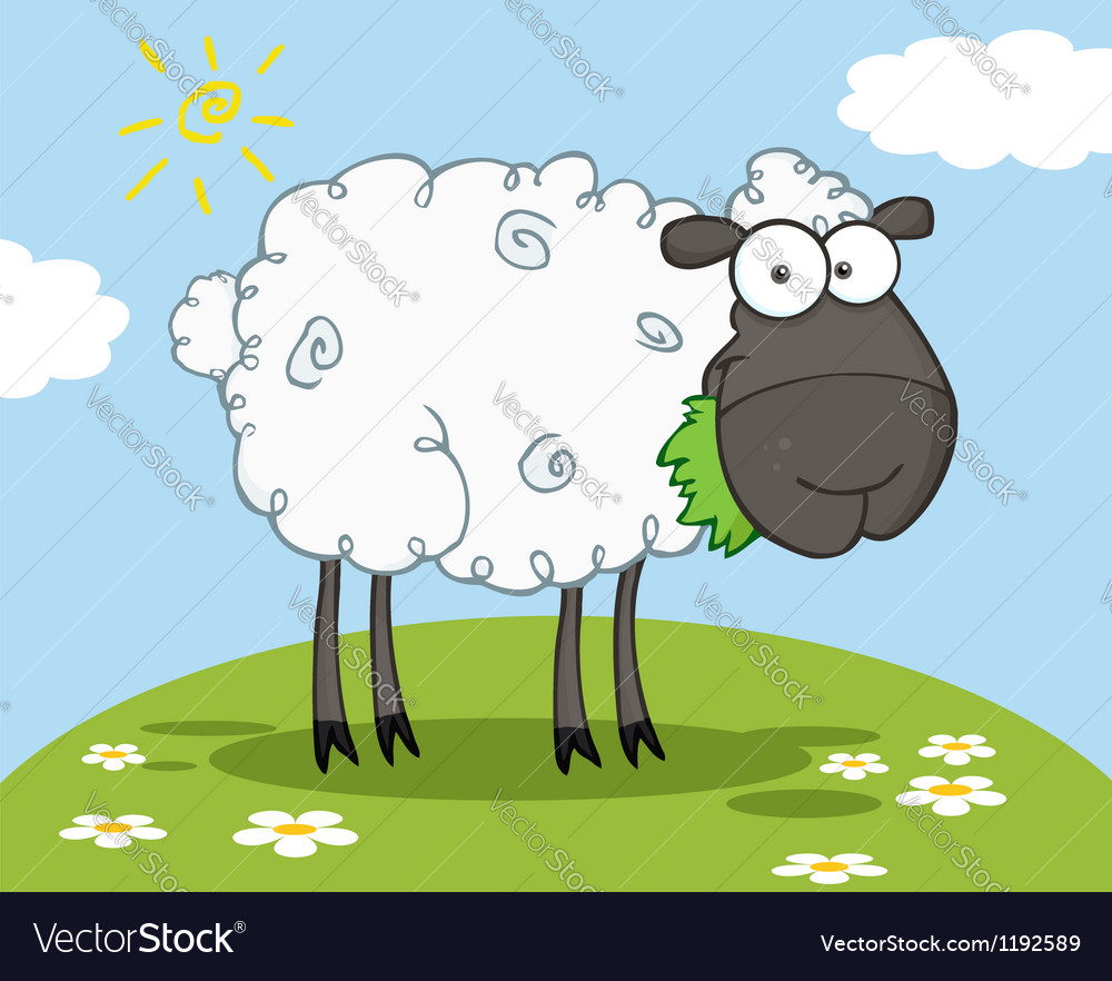 Black sheep cartoon character vector | Price: 1 Credit (USD $1)