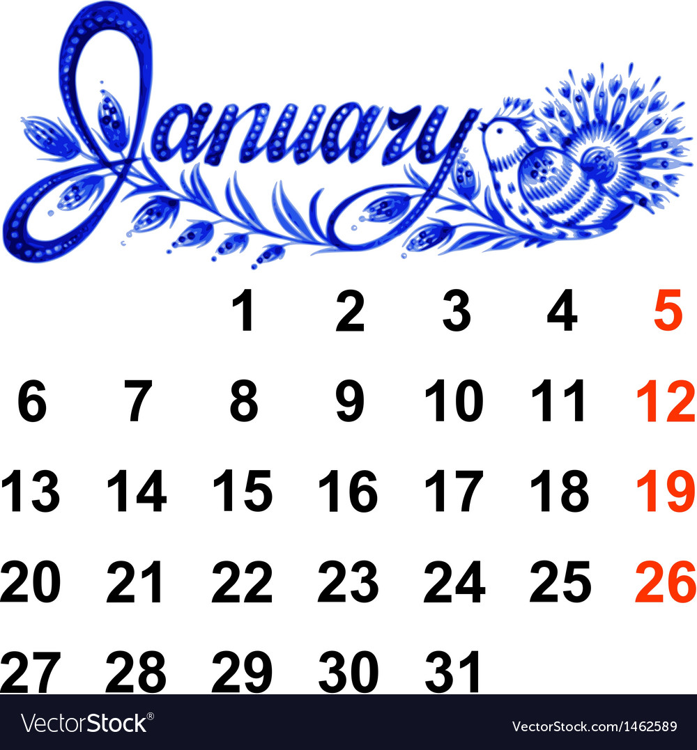 Calendar january 2014 vector | Price: 1 Credit (USD $1)