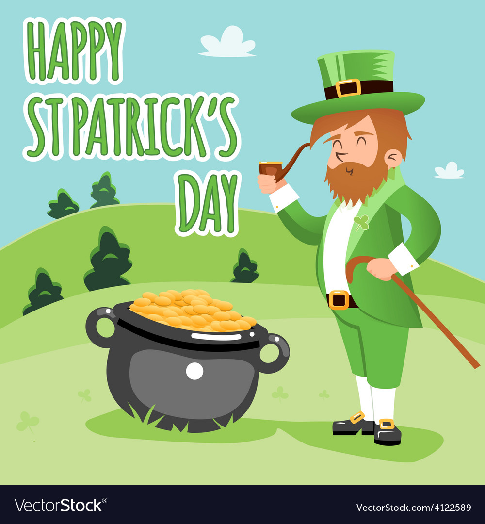 Cartooned happy st patrick day poster vector | Price: 1 Credit (USD $1)
