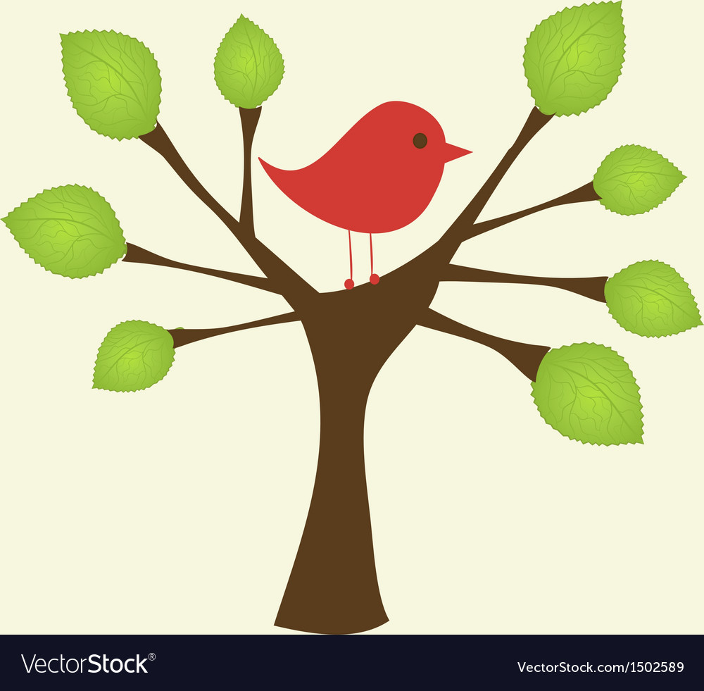 Greeting card with bird on tree branch vector | Price: 1 Credit (USD $1)