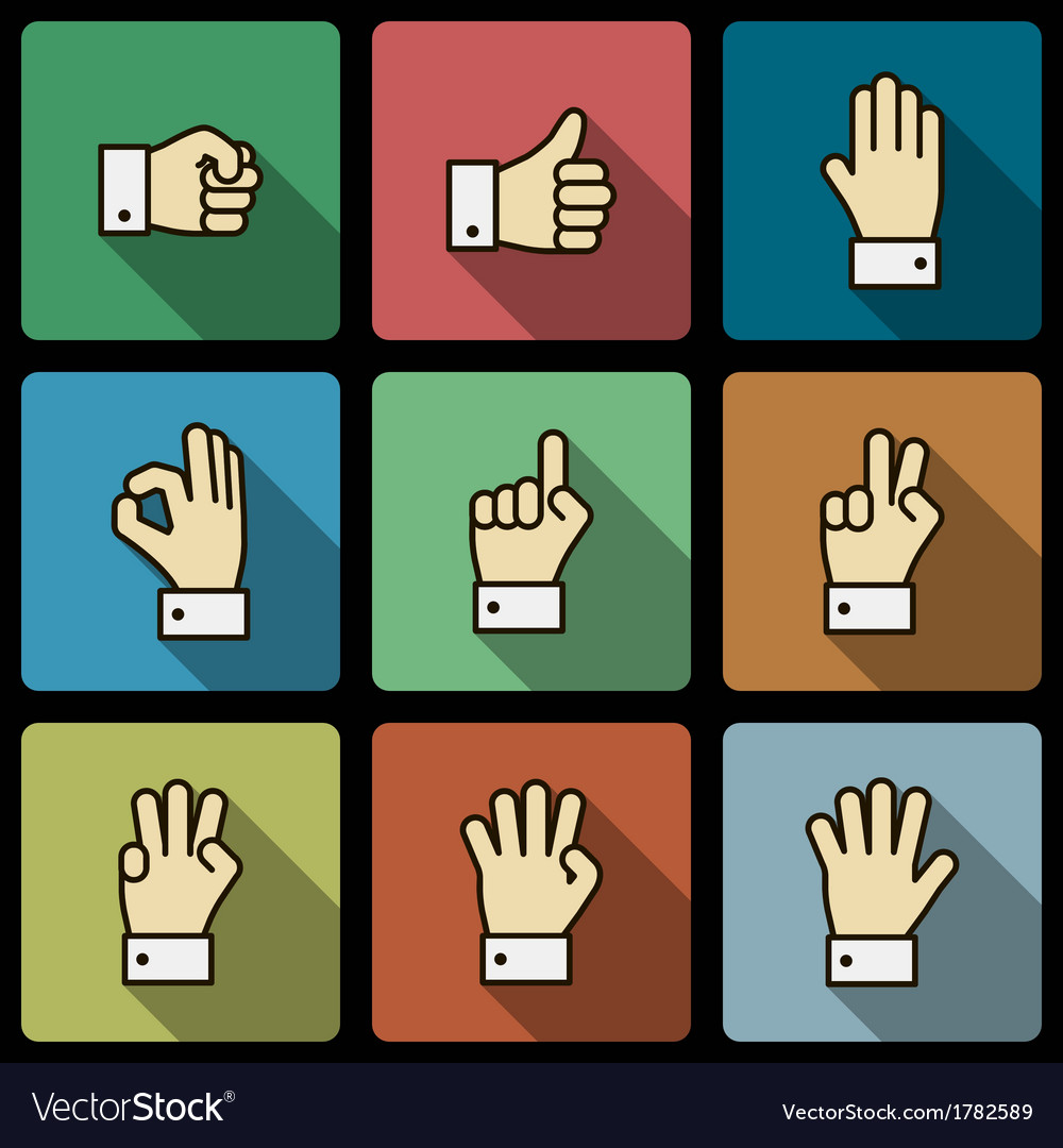 Hand gestures ui design elements squared shadows vector | Price: 1 Credit (USD $1)