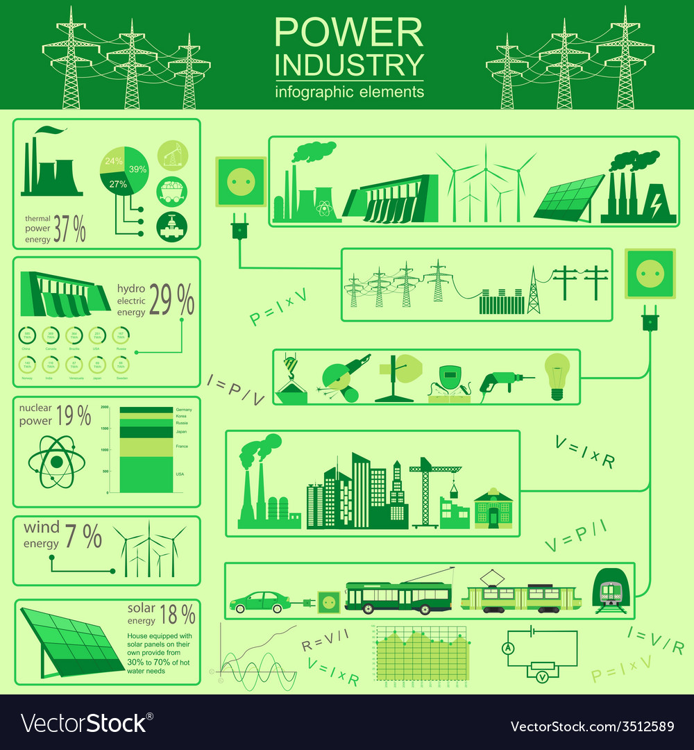 Power energy industry infographic electric systems vector | Price: 1 Credit (USD $1)