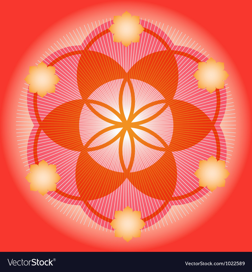 Sacred geometry red flower vector | Price: 1 Credit (USD $1)