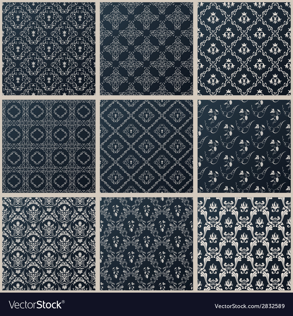 Seamless vintage backgrounds set black baroque vector | Price: 1 Credit (USD $1)