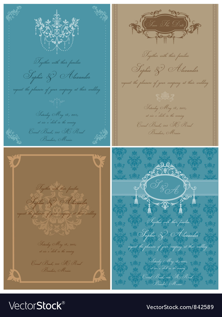 Set of beautiful vintage cards vector | Price: 1 Credit (USD $1)