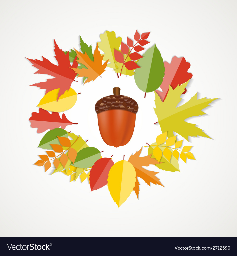 Acorn with leaves autumn vector | Price: 1 Credit (USD $1)