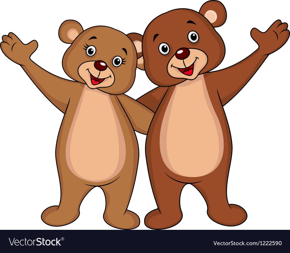Bear couple cartoon waving hands vector | Price: 3 Credit (USD $3)