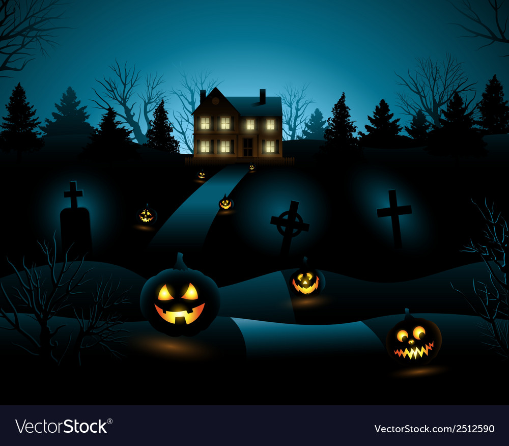 Blue halloween invitation haunted house background vector | Price: 3 Credit (USD $3)