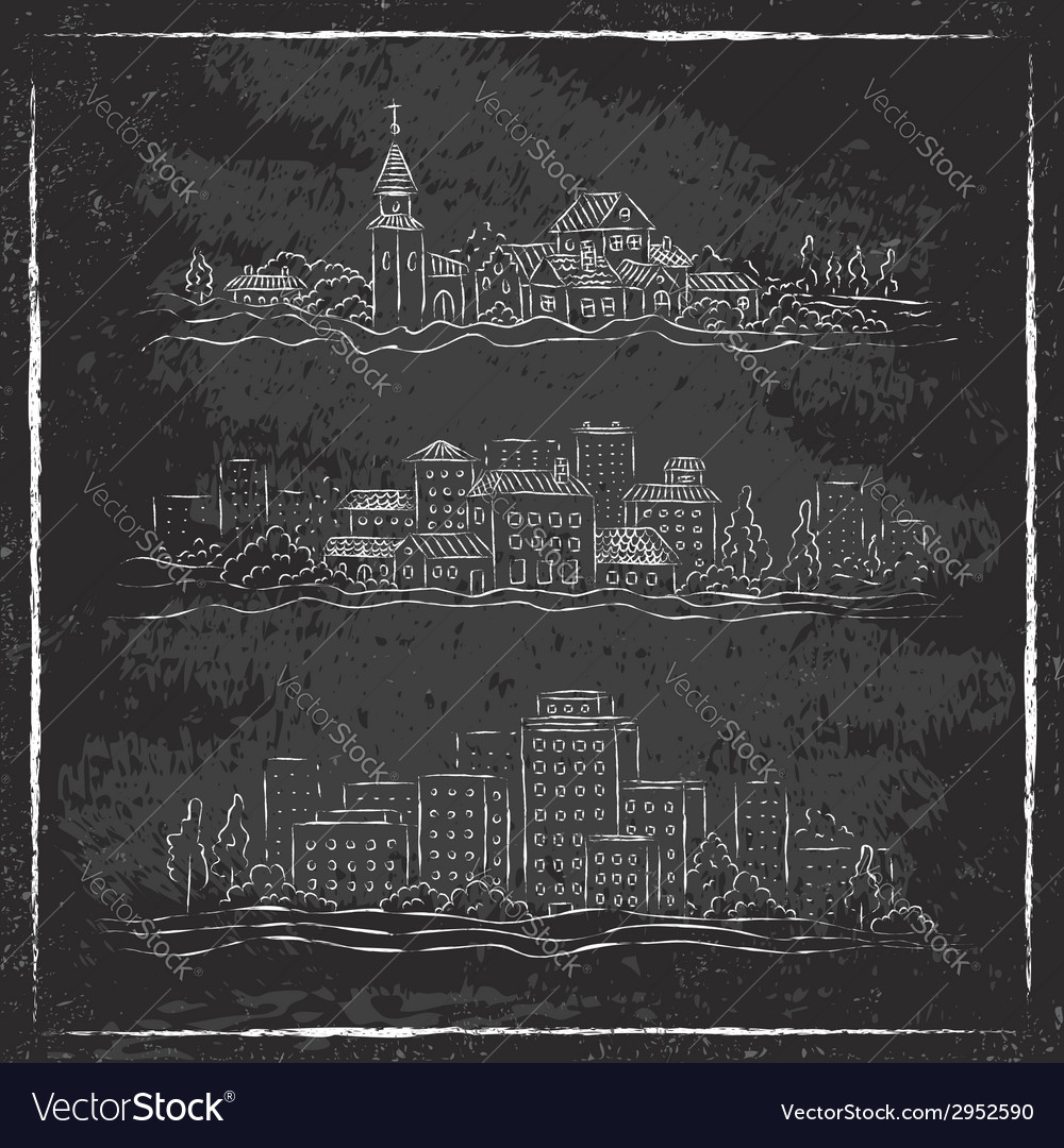 City chalk vector | Price: 1 Credit (USD $1)
