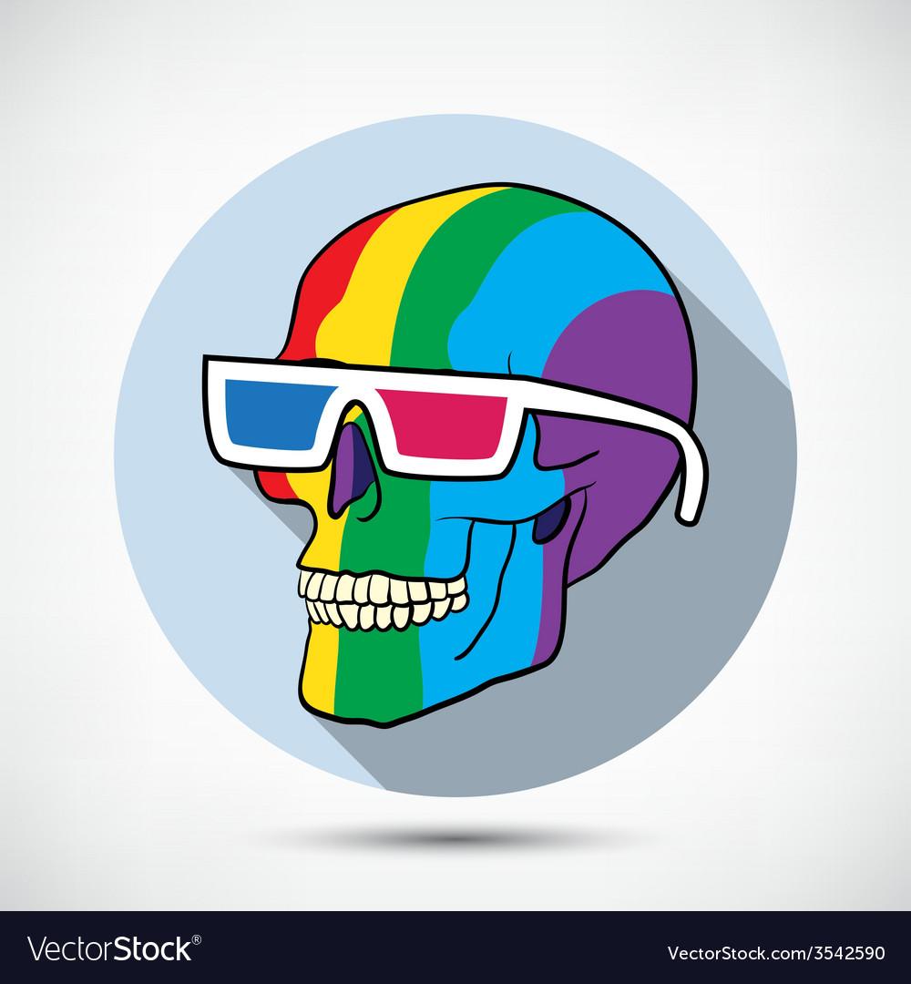 Color skull in 3d glasses vector | Price: 1 Credit (USD $1)