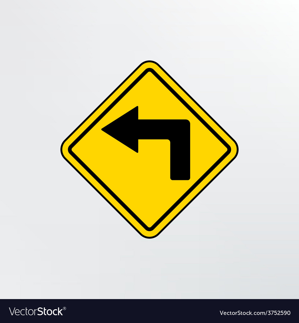 Left turn ahead icon vector | Price: 1 Credit (USD $1)
