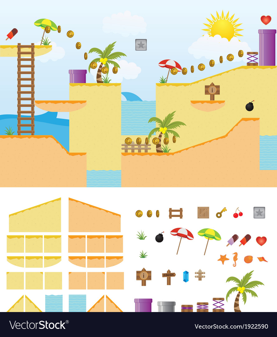 Platform-game-summer-beach vector | Price: 1 Credit (USD $1)
