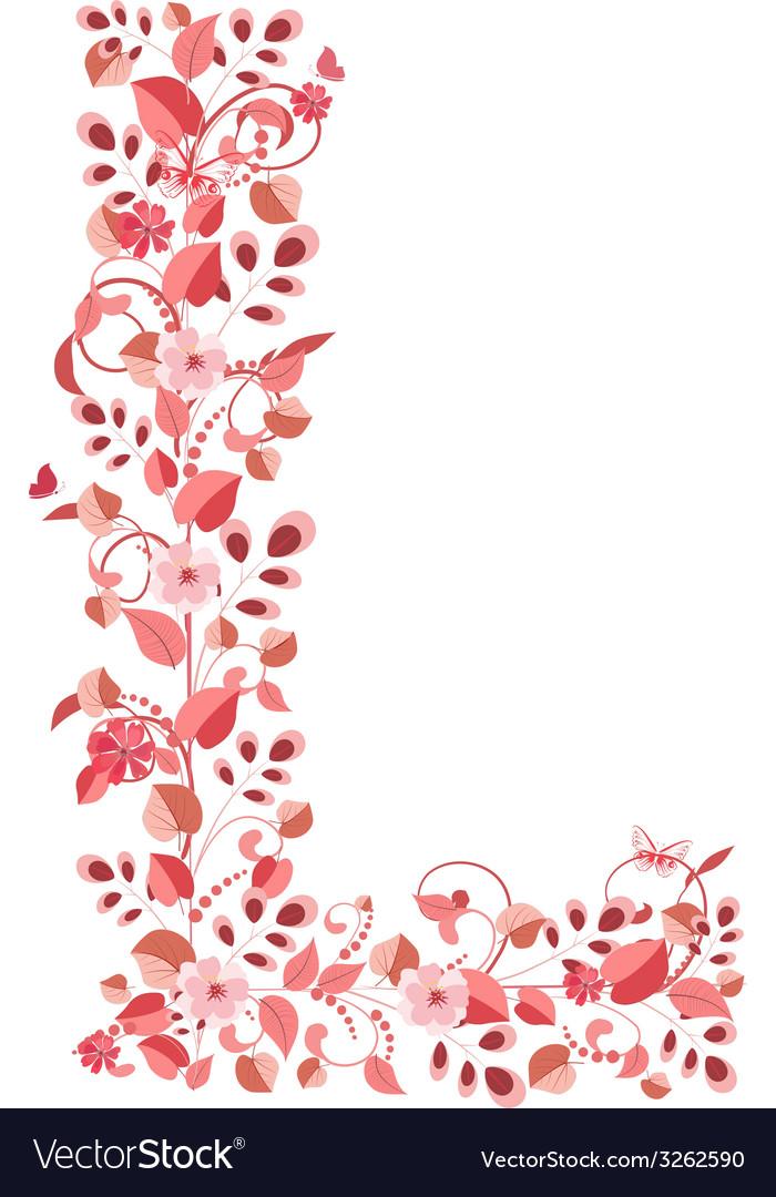 Romantic floral letter l vector | Price: 1 Credit (USD $1)
