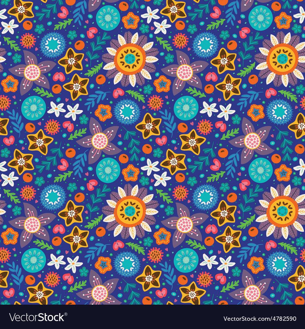 Scandinavian wild flowers seamless pattern vector | Price: 1 Credit (USD $1)